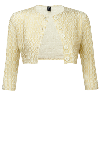 GOLD METALLIC SEERSUCKER CARDIGAN