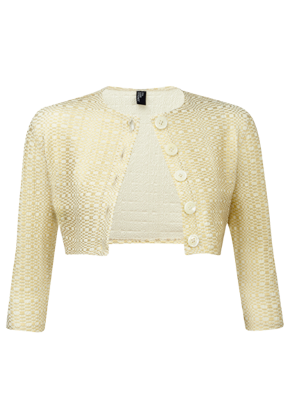 GOLD/CREAM METALLIC SEERSUCKER CARDIGAN