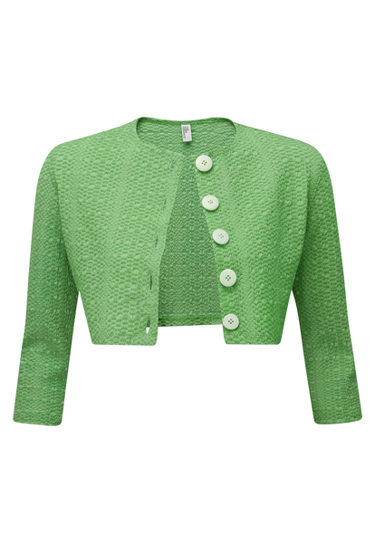 GREEN SEERSUCKER CARDIGAN