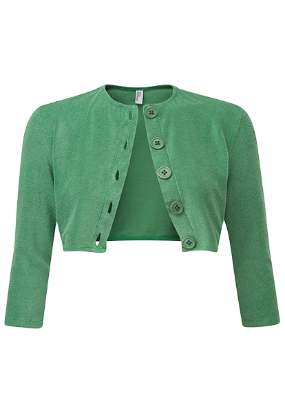 GREEN TERRY CLOTH CARDIGAN