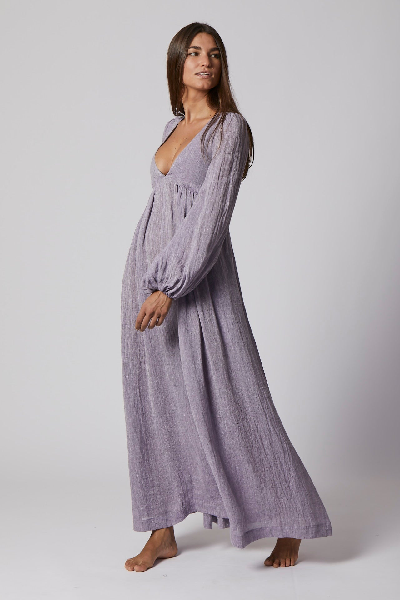 CAROLYN LAVENDER ORGANIC GAUZE DRESS