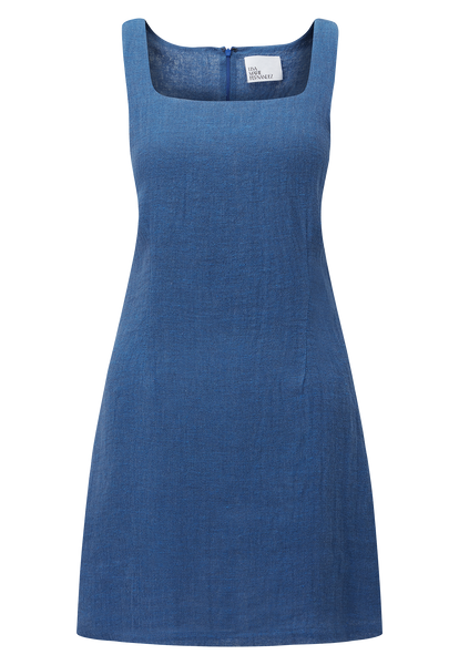 CHARLOTTE MOROCCAN BLUE GAUZE MINI DRESS