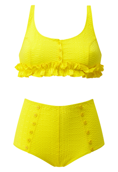 COLBY RUFFLE LEMON HIGH-WAIST BIKINI