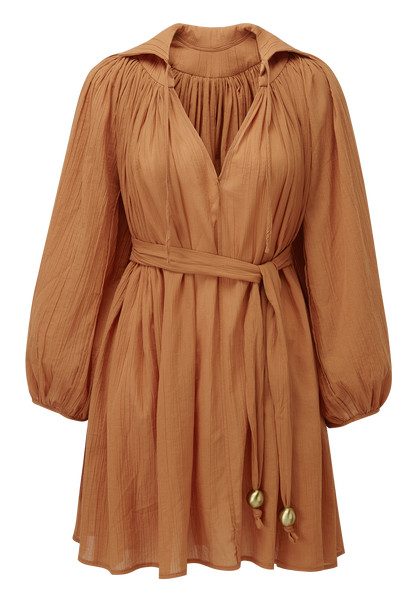 POET TERRACOTTA COTTON MINI DRESS