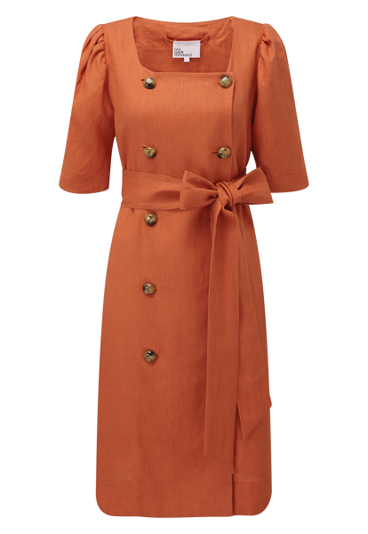 DIANA TERRACOTTA LINEN SHIRT DRESS