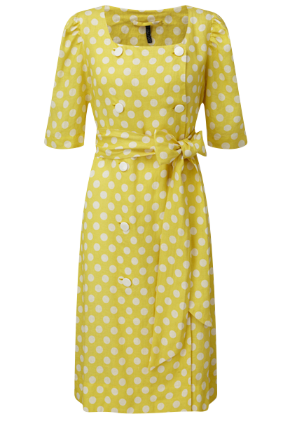DIANA YELLOW POLKA DOT LINEN DRESS