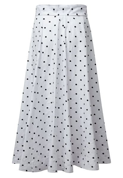 DIANA DOUBLE BREASTED EMBROIDERED POLKA DOT LINEN SKIRT