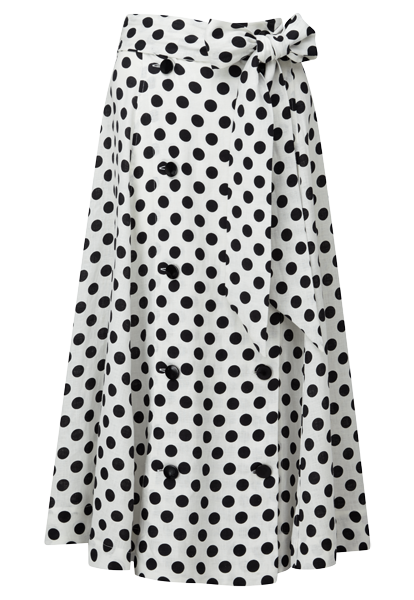 DIANA BLACK POLKA DOT LINEN SKIRT