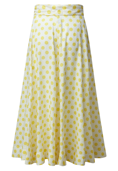 DIANA DOUBLE BREASTED YELLOW POLKA DOT LINEN SKIRT