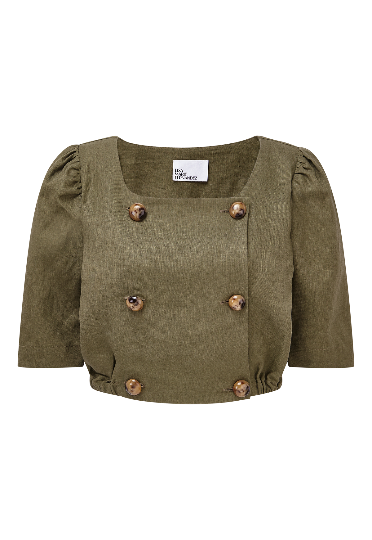 DIANA OLIVE LINEN TOP