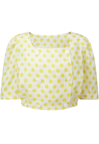 DIANA YELLOW POLKA DOT LINEN TOP