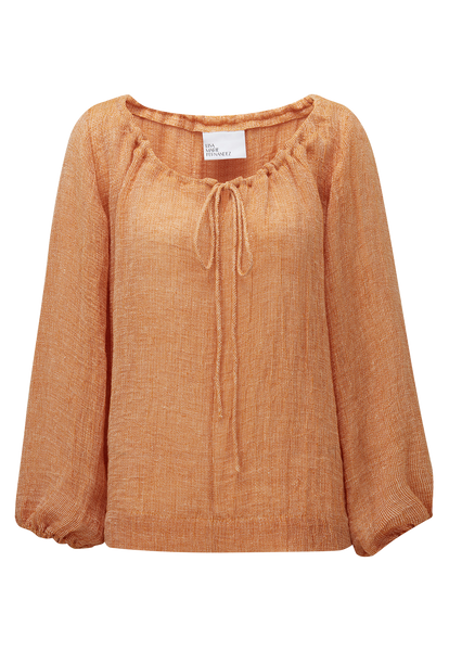 ORANGE CHIOS GAUZE PEASANT TOP