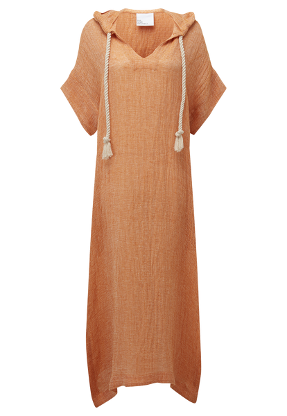 ORANGE CHIOS GAUZE HOODED CAFTAN