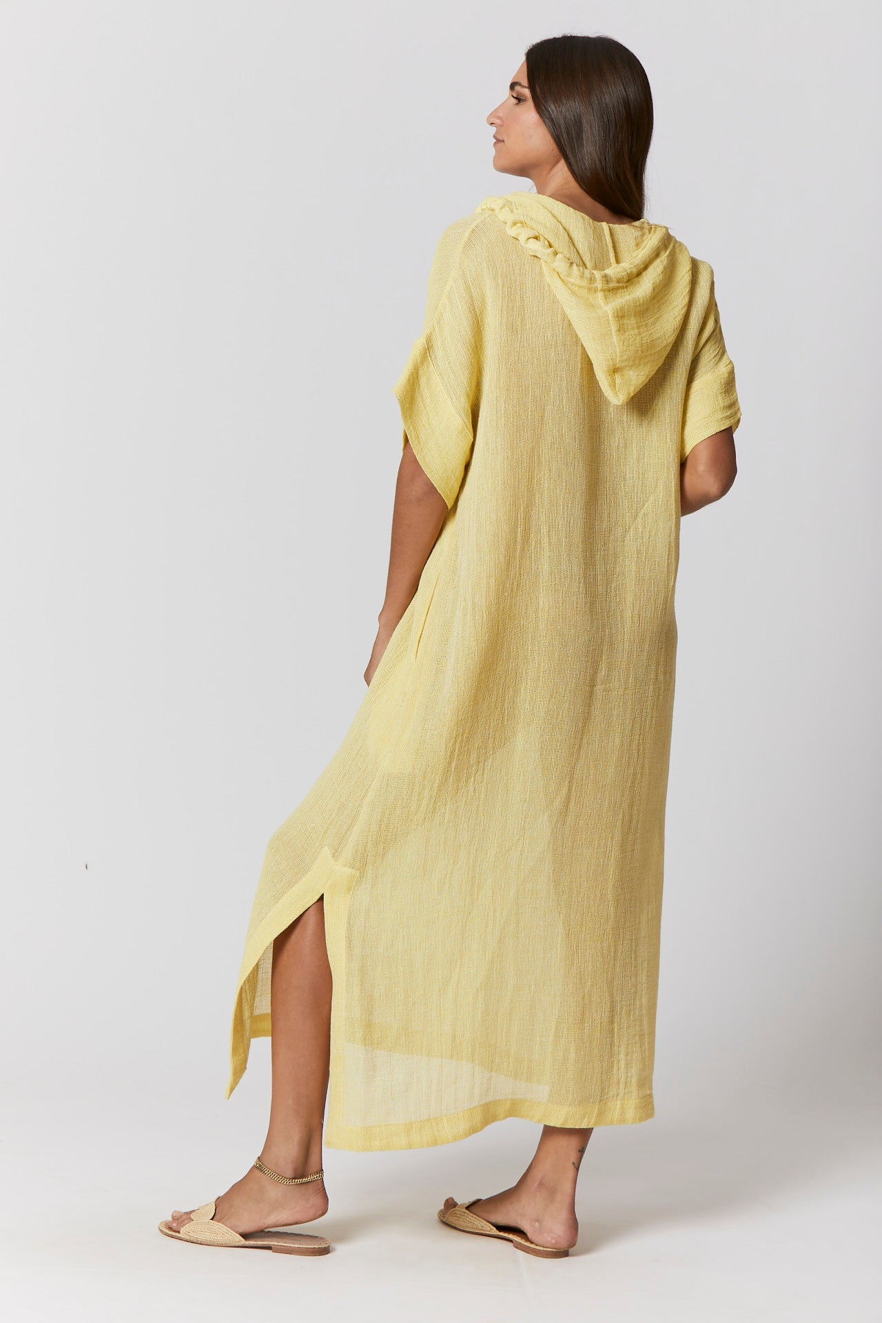 YELLOW CHIOS GAUZE HOODED CAFTAN