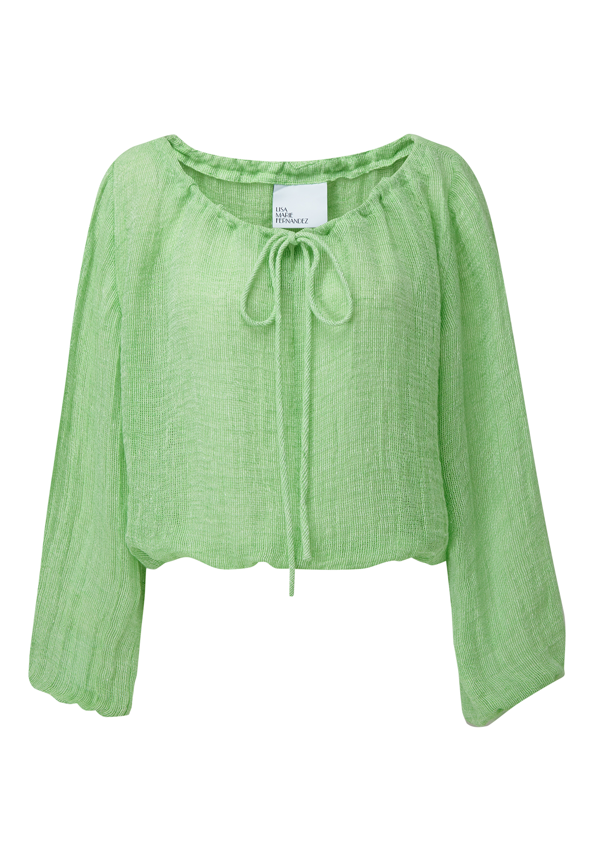 GREEN CHIOS GAUZE PEASANT BLOUSE (PRE-ORDER)