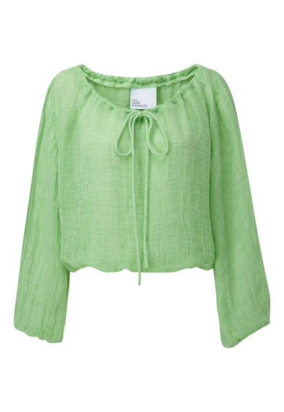 GREEN CHIOS GAUZE PEASANT BLOUSE