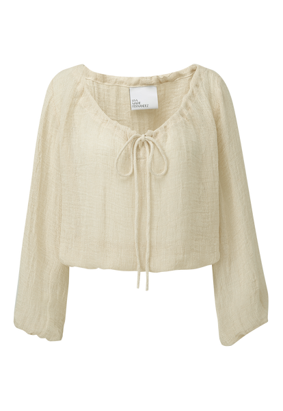 NATURAL CHIOS GAUZE PEASANT BLOUSE