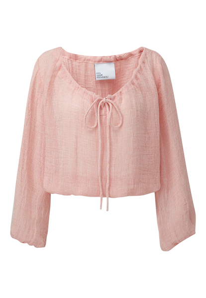 PINK CHIOS GAUZE PEASANT BLOUSE
