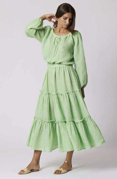 GREEN LINEN RUFFLE PEASANT SKIRT