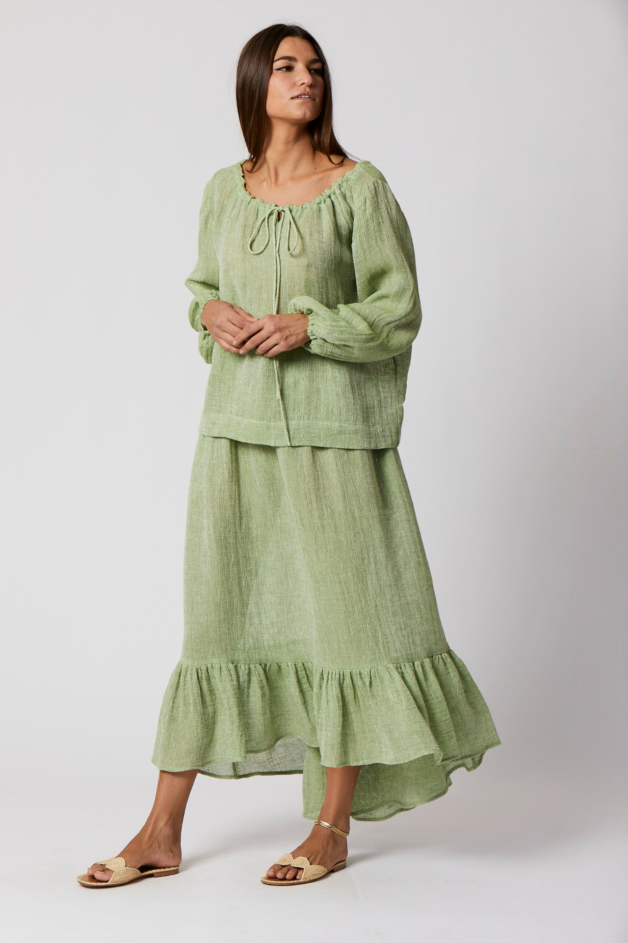 GREEN CHIOS GAUZE PEASANT TOP