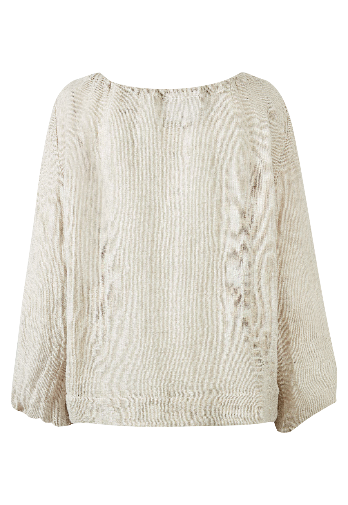 OATMEAL CHIOS GAUZE PEASANT TOP