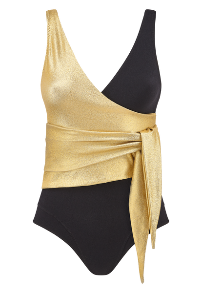 DREE LOUISE GOLD AND BLACK CREPE MAILLOT