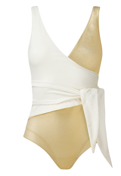 DREE LOUISE GOLD/CREAM CREPE MAILLOT
