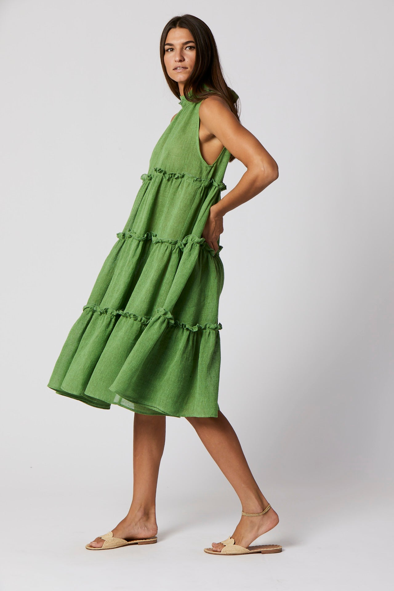 ERICA GREEN ORGANIC GAUZE MIDI DRESS