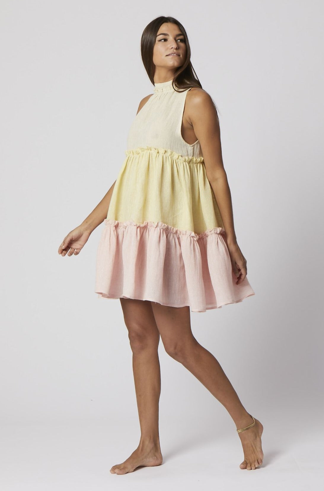 ERICA METALLIC GAUZE RUFFLE DRESS (PRE-ORDER)