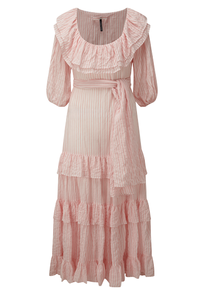 EUGENIE PINK STRIPED CRINKLE DRESS