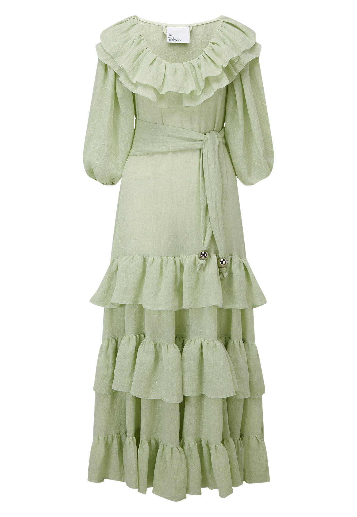 EUGENIE MINT METALLIC GAUZE DRESS