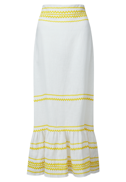 RIC RAC YELLOW/WHITE LINEN SKIRT