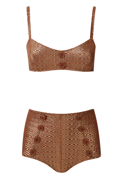 GENEVIEVE TERRACOTTA METALLIC HIGH-WAIST BIKINI