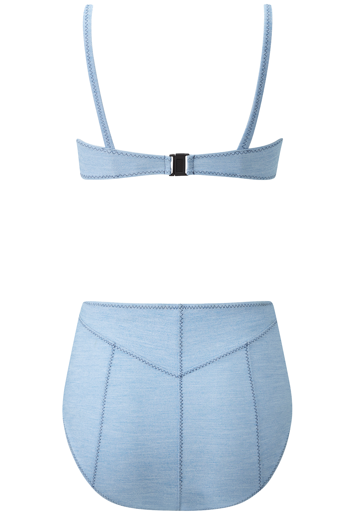 GENEVIEVE FADED DENIM HIGH-WAIST BIKINI