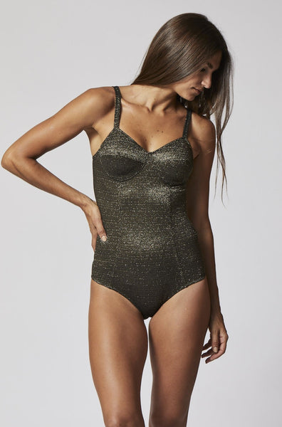 GOLDWYN GOLD/BLACK LUREX MAILLOT