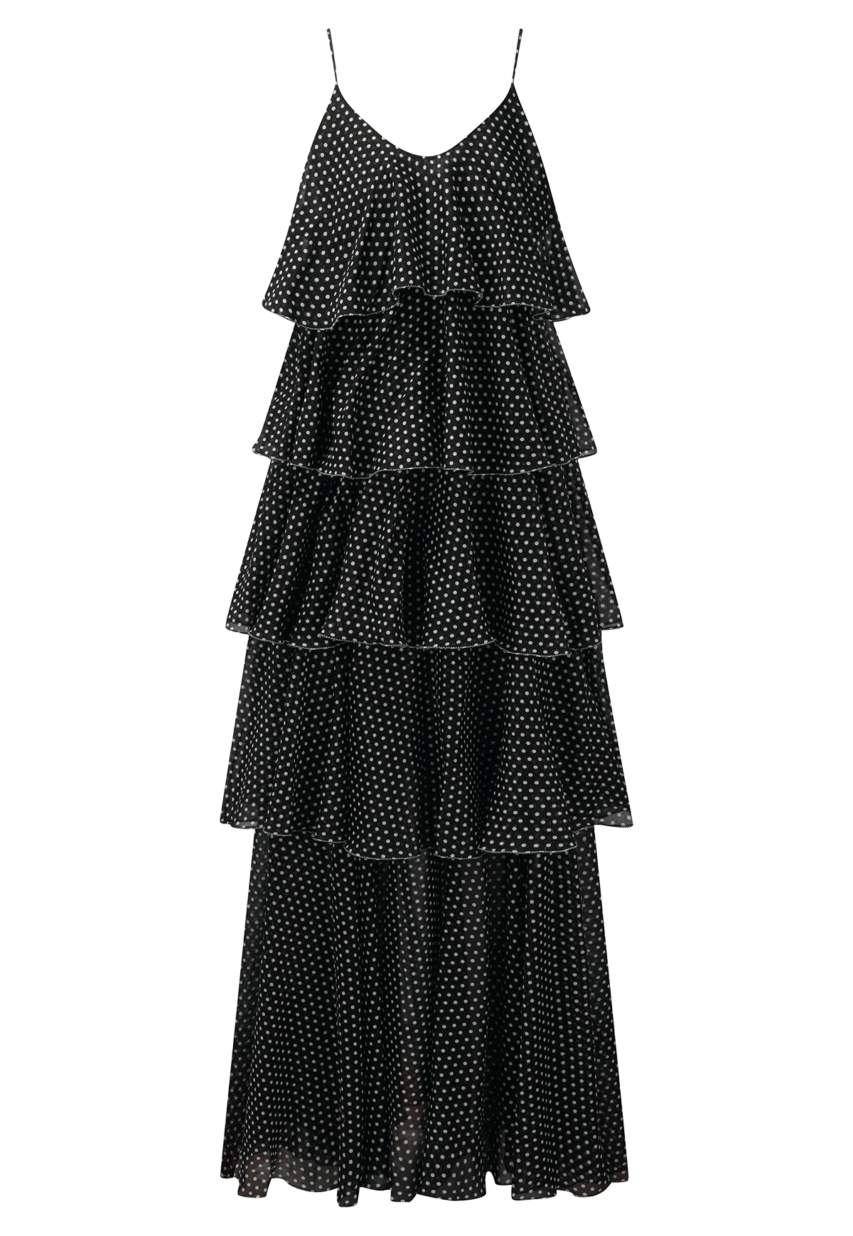 IMAAN BLACK POLKA DOT TIER DRESS