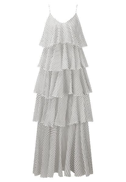 IMAAN WHITE POLKA DOT TIER DRESS