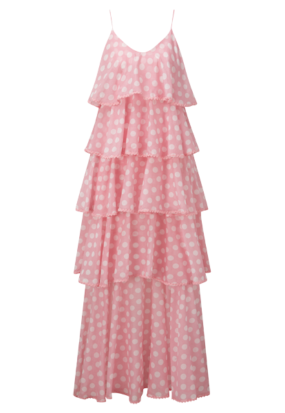 IMAAN PINK POLKA DOT TIER DRESS
