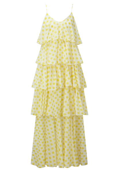 IMAAN YELLOW POLKA DOT TIER DRESS