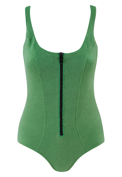 JASMINE GREEN TERRY CLOTH MAILLOT