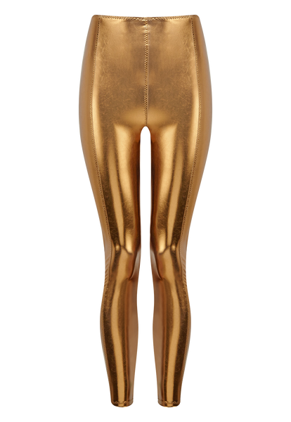KARLIE BRONZE METALLIC PVC LEGGING