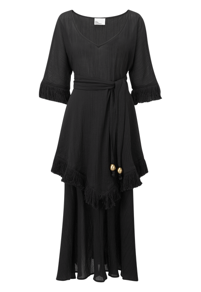 LAURA BLACK COTTON FRINGE DRESS