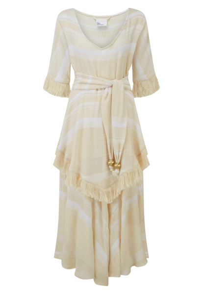LAURA CREAM COTTON FRINGE DRESS