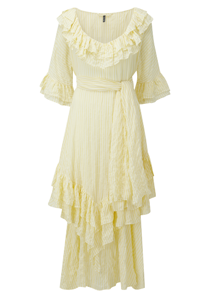 LAURA YELLOW STRIPED CRINKLE DRESS