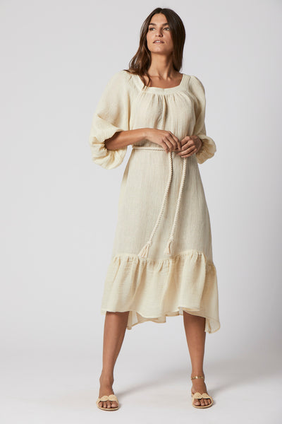 LAURE NATURAL CHIOS GAUZE DRESS
