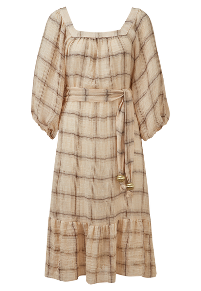 LAURE PEACH WINDOWPANE GAUZE DRESS