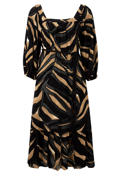 LAURE ZEBRA DEVORE DRESS