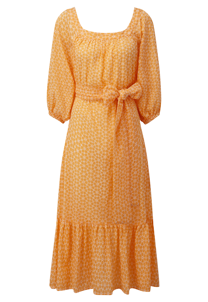 LAURE TANGERINE DAISY EYELET DRESS
