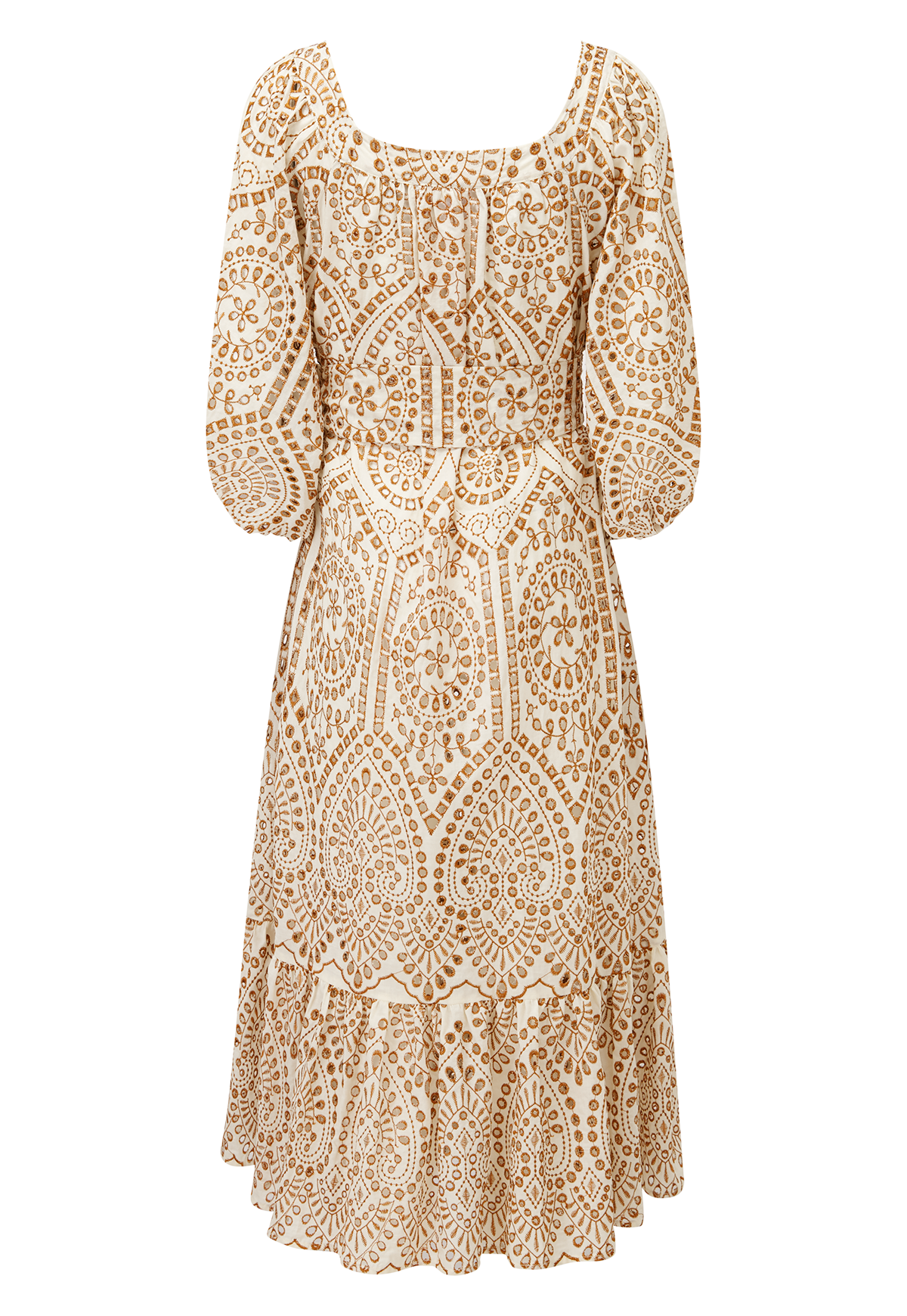 LAURE NATURAL AND TERRACOTTA EYELET DRESS