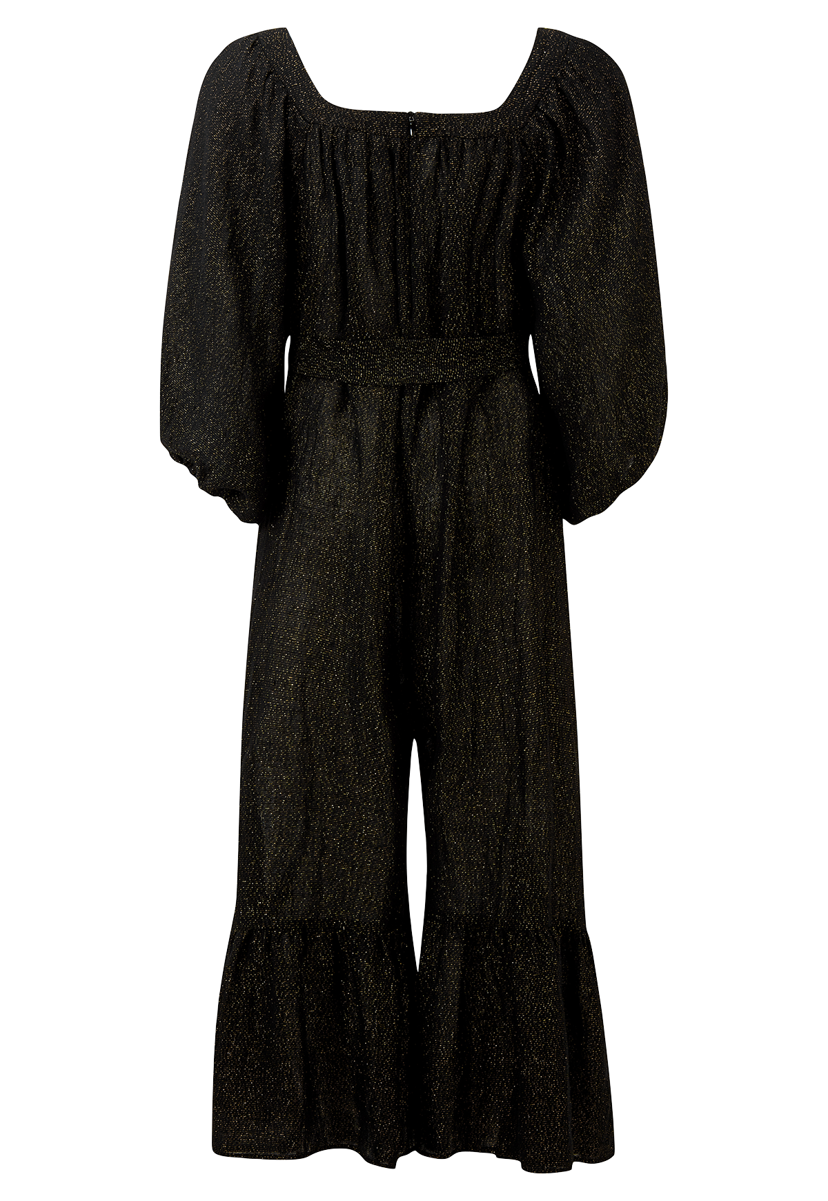 LAURE BLACK METALLIC GAUZE JUMPSUIT